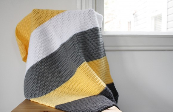 Color Blocked Yellow & Grey Crochet Blanket