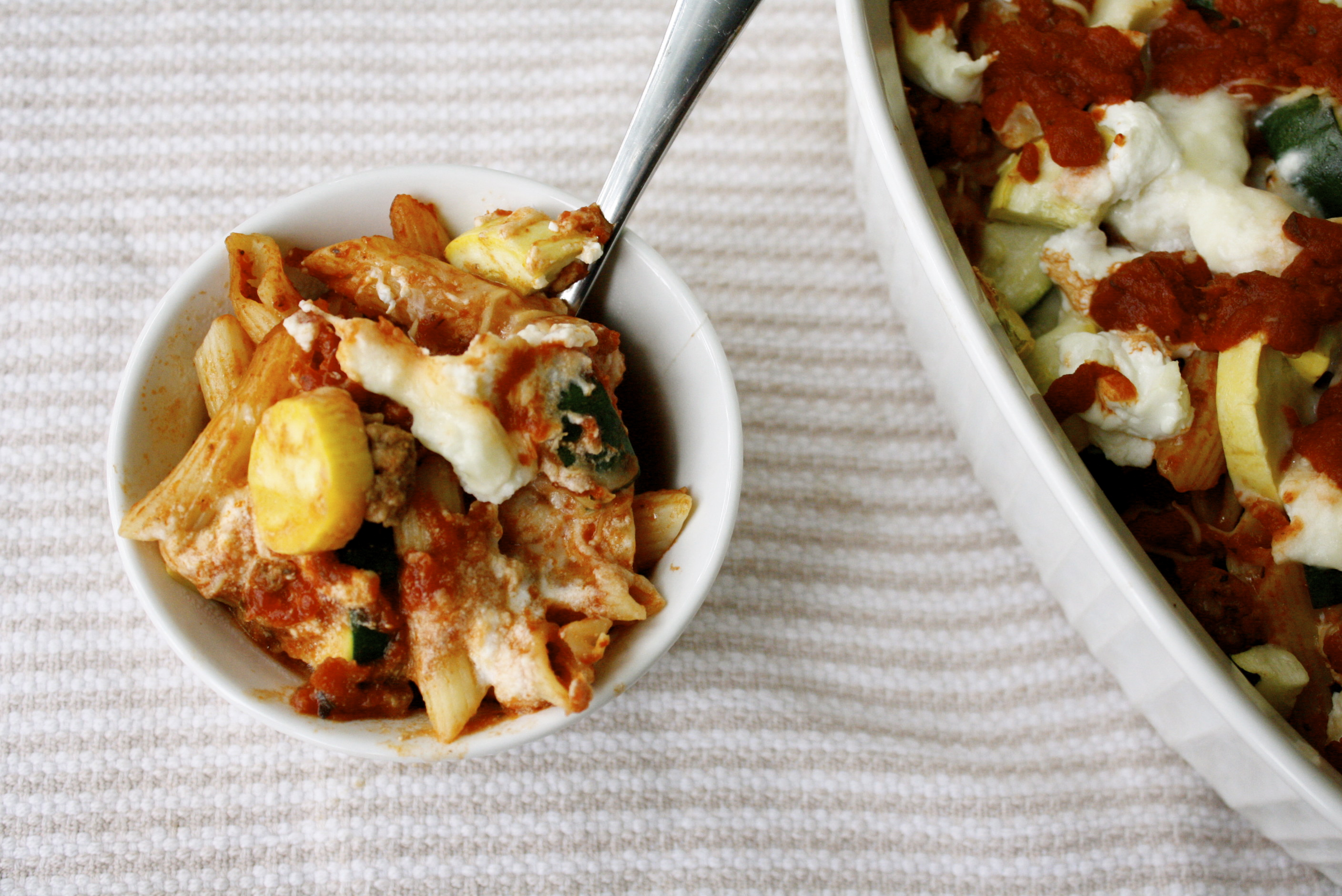 Baked Penne with Zucchini and Goat Cheese