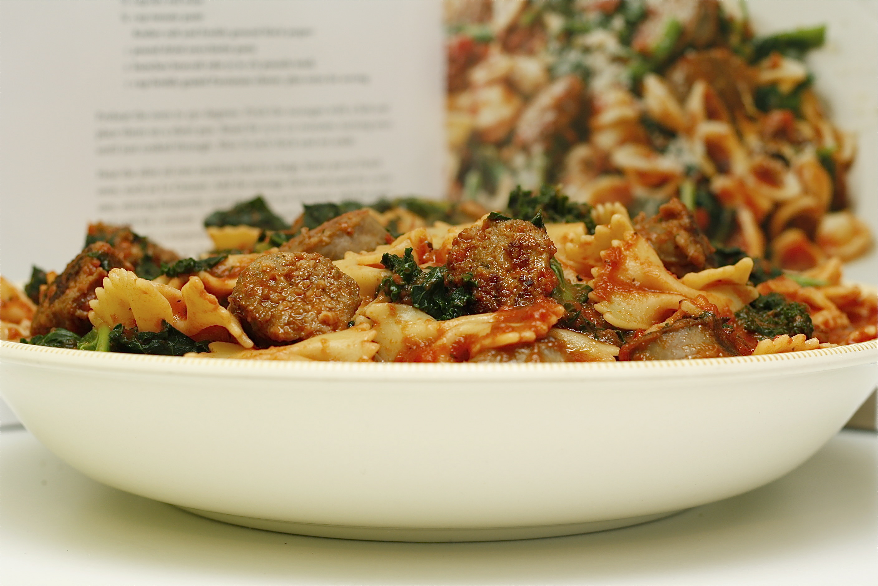 Kale and Sausage Pasta with Simple Red Sauce