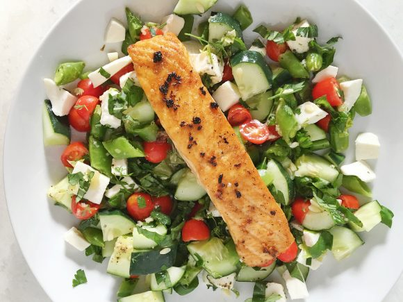 Caprese Salad with Cucumbers and Salmon