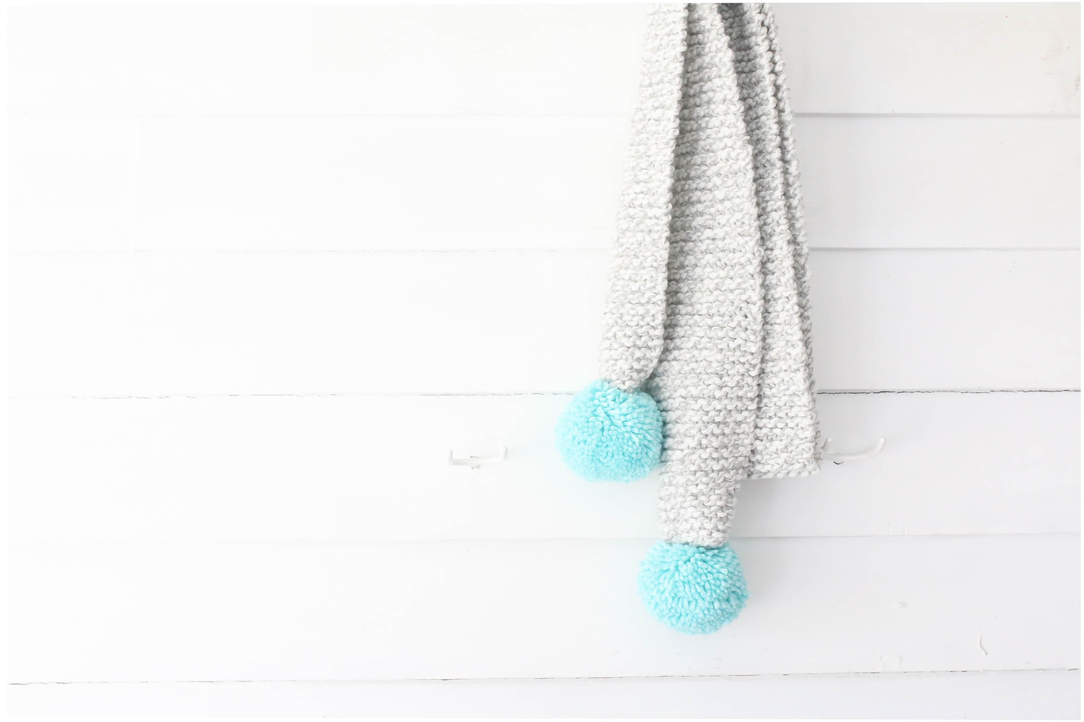 Knit Pom Pom Scarf- Three Ways