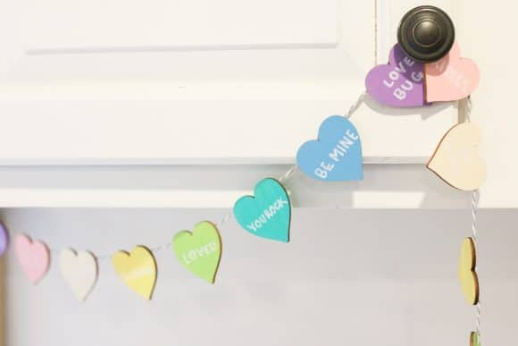 DIY Conversation Heart Wood and Twine Banner