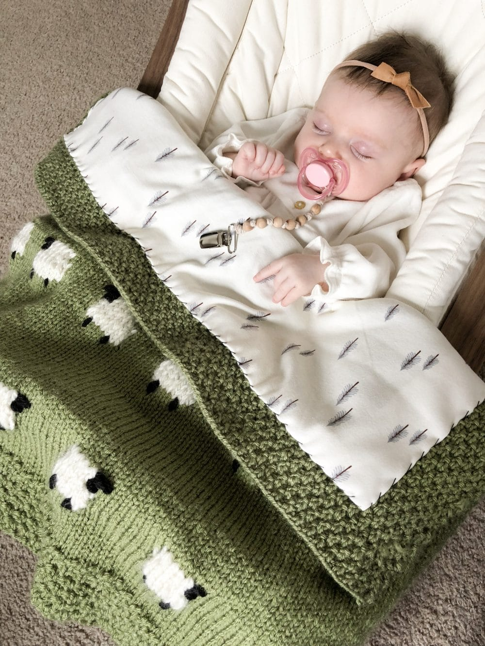 Project Files Fabric Backed Knit Sheep Baby Blanket