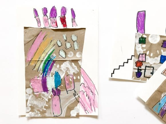 Mixed Media Collage Paper Houses