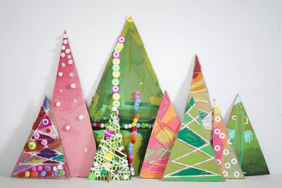 Recycled Cardboard Trees Process Art