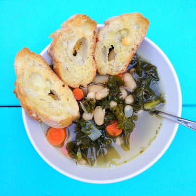 Kale and White Bean Soup with Parmesan Crostini