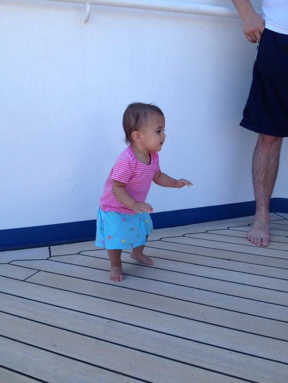 Walking on the high seas.