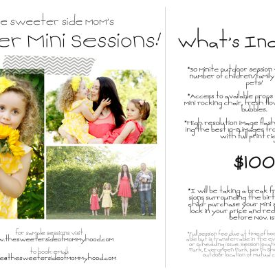Summer Mini Session Info! (Pst- book now and redeem anytime before Nov. 1!)