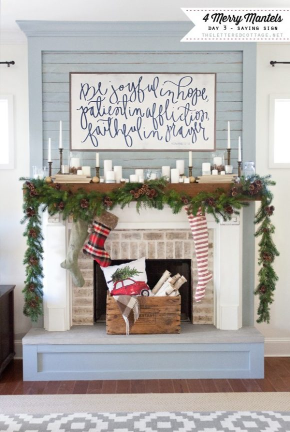 Merry-Mantels-House-Of-Belonging-Saying-Sign-The-Lettered-Cottage-YouTube-Series-Fireplace-Decorating-Christmas2-600x892