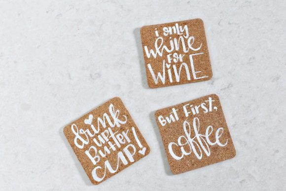 hand-lettered-cork-coasters