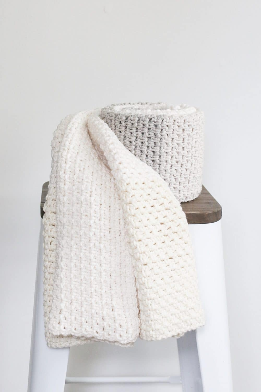 Neutral Color Block Crochet Blanket Pattern - The Sweeter
