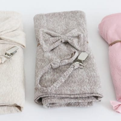 DIY Coordinating Newborn Giftset: 3 Swaddles, 3 Paci Clips And 3 Hair bows