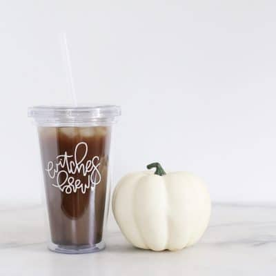 DIY Witches Brew Reusable Straw Cup – Free Cricut Cut File For Halloween