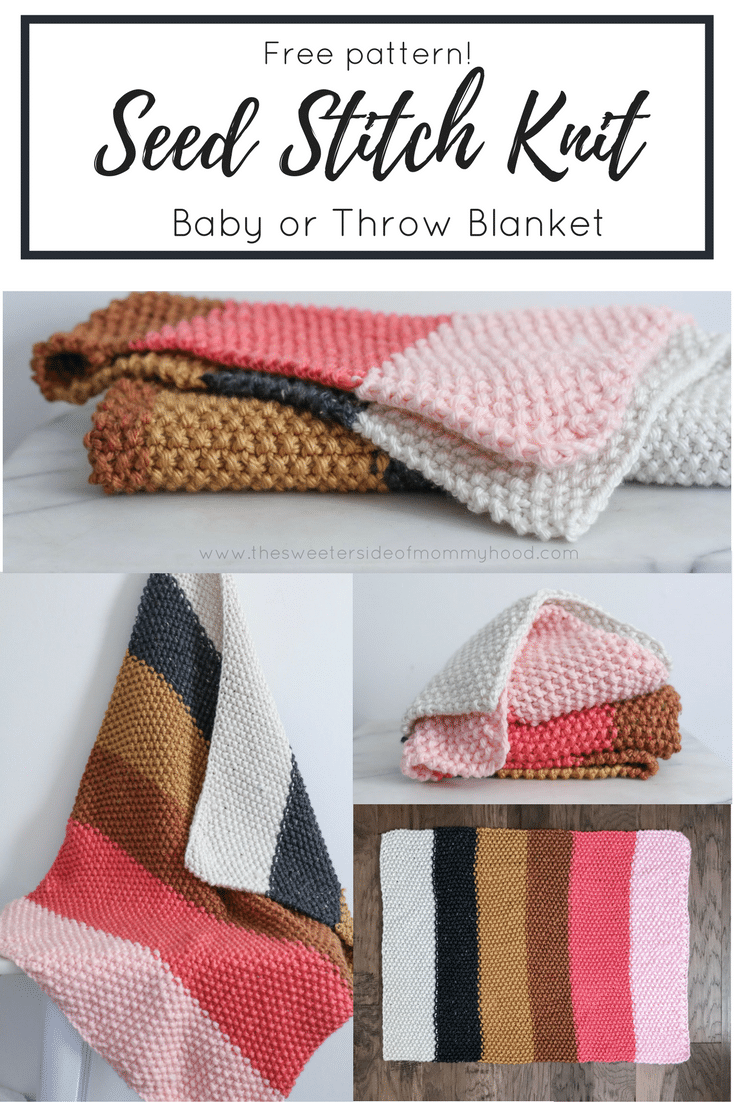 f3e27b606 Quick and Easy Fall Seed Stitch Knit Throw or Baby Blanket - Free ...