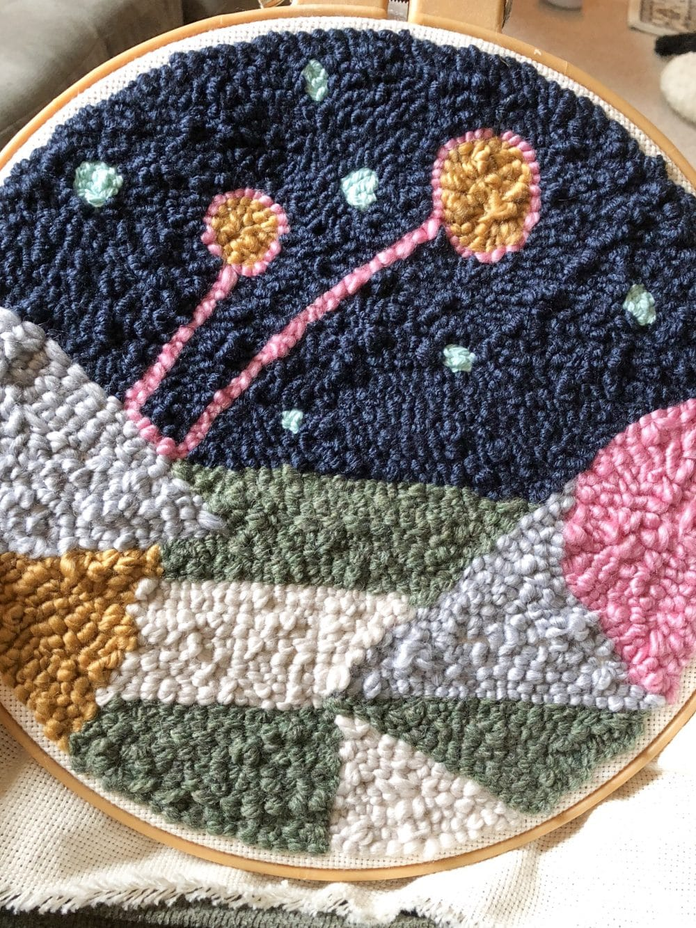 Punchneedle embroidery pillow embroidery pillow