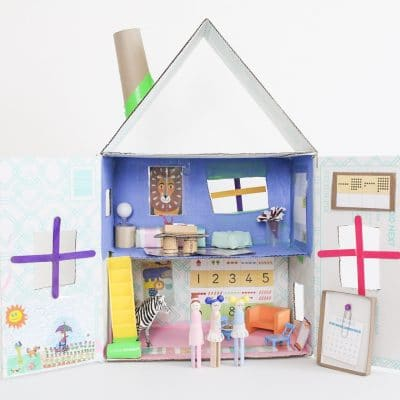 Upcycled Cardboard Dollhouse Easy Craft For Kids