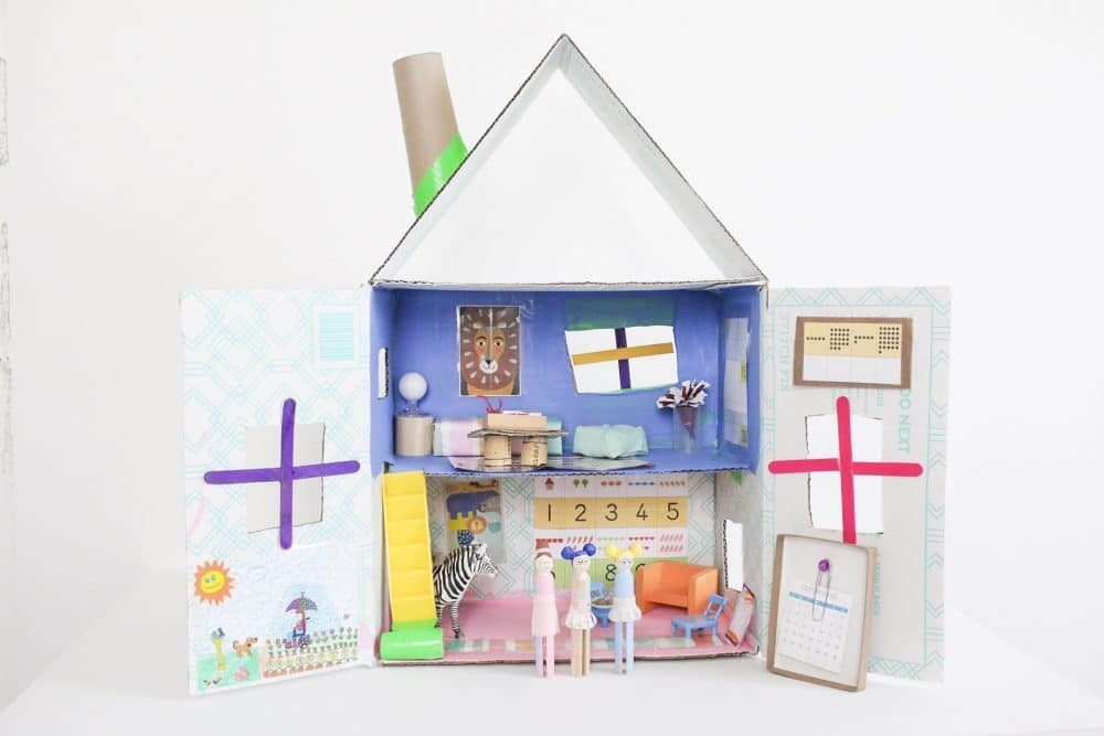 Upcycled Cardboard Dollhouse Easy Craft For Kids The Sweeter Side