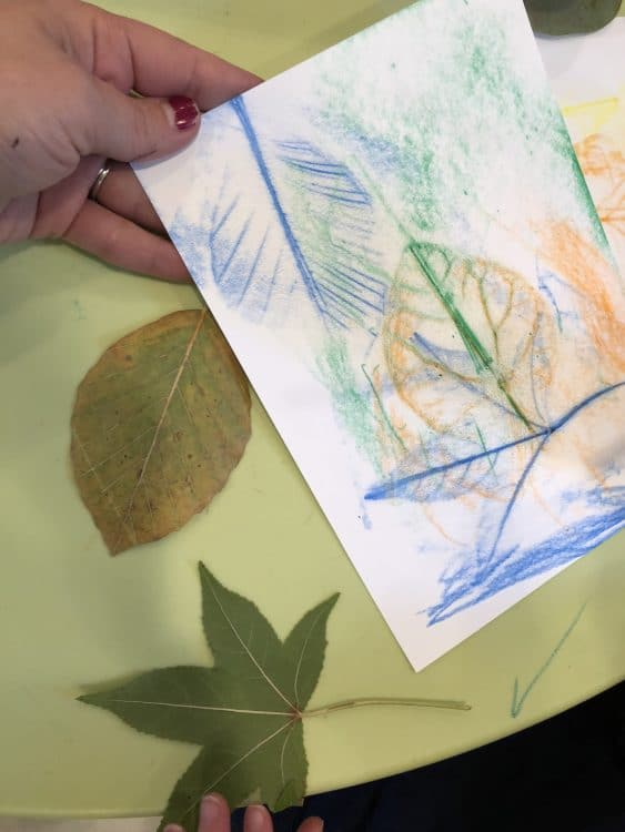 Leaf printing process art for preschool