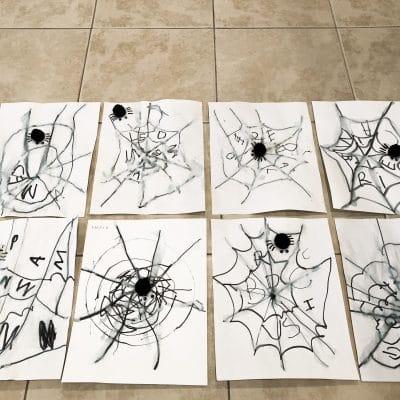 "Crayola Marker and Water ""hidden name"" Spider Webs"