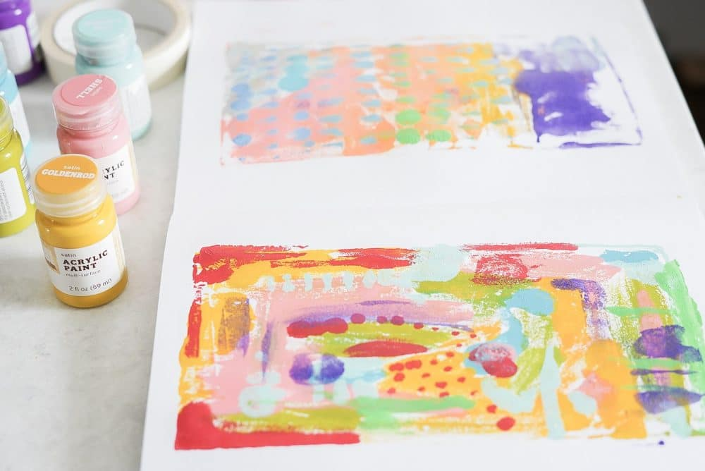 Process art styrofoam printmaking with preschool.