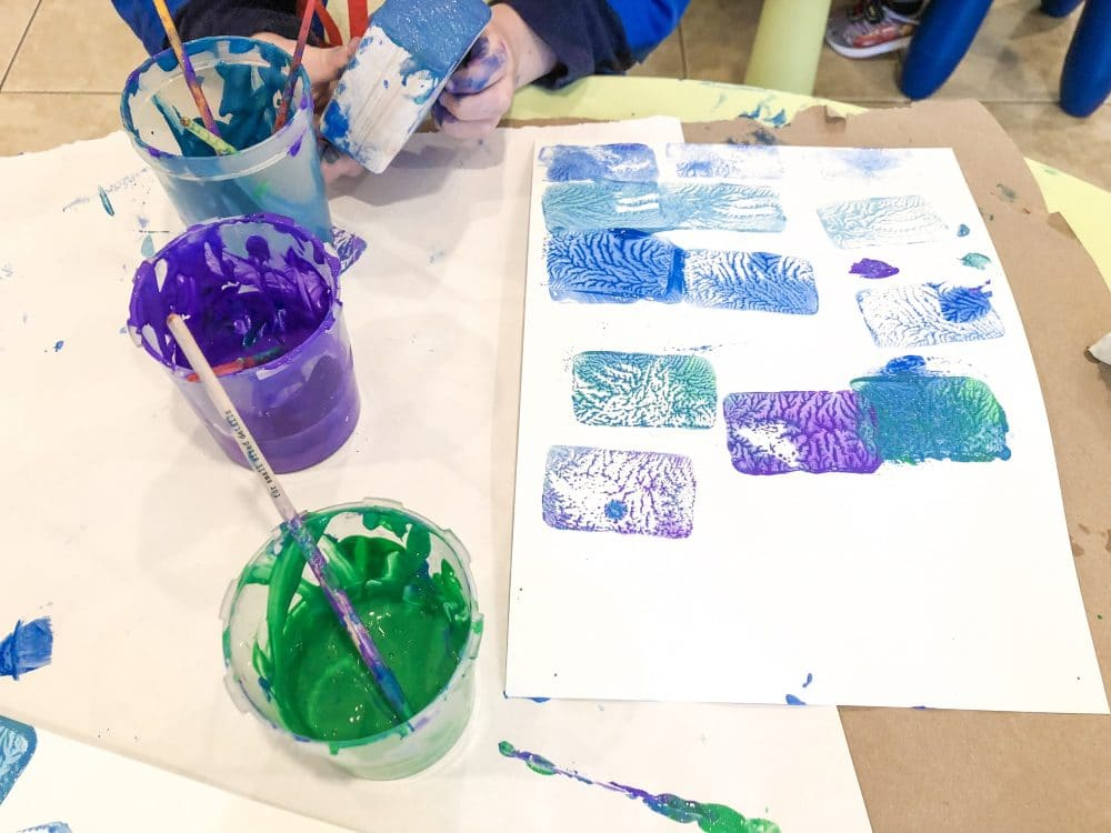 Preschool process art printmaking collagraph