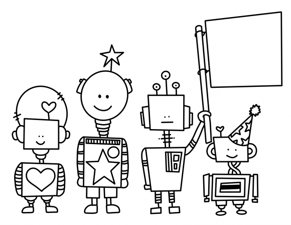Hand drawn robot doodle free coloring page download