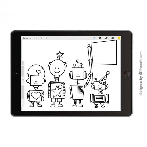 Coloring pages on an iPad Pro  – plants and dinosaurs and robots, oh my!