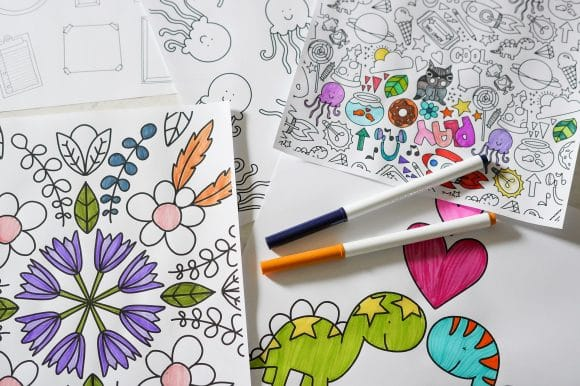 Hand drawn doodle coloring pages download