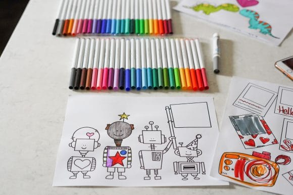 How to color on an iPad tutorial robot coloring page