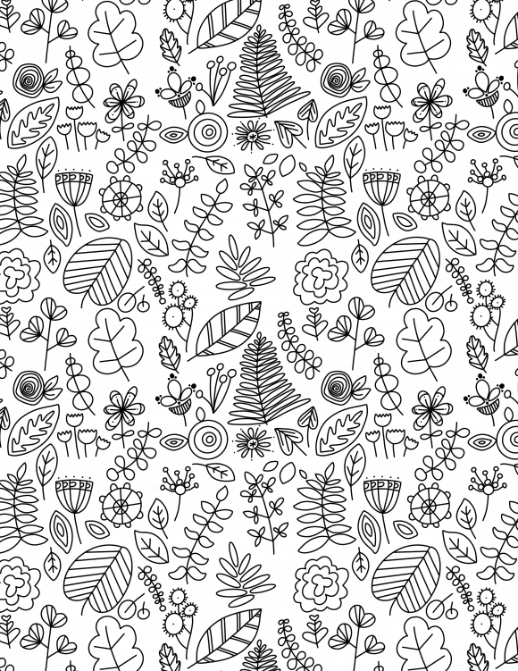 Free coloring page printable botanical doodles