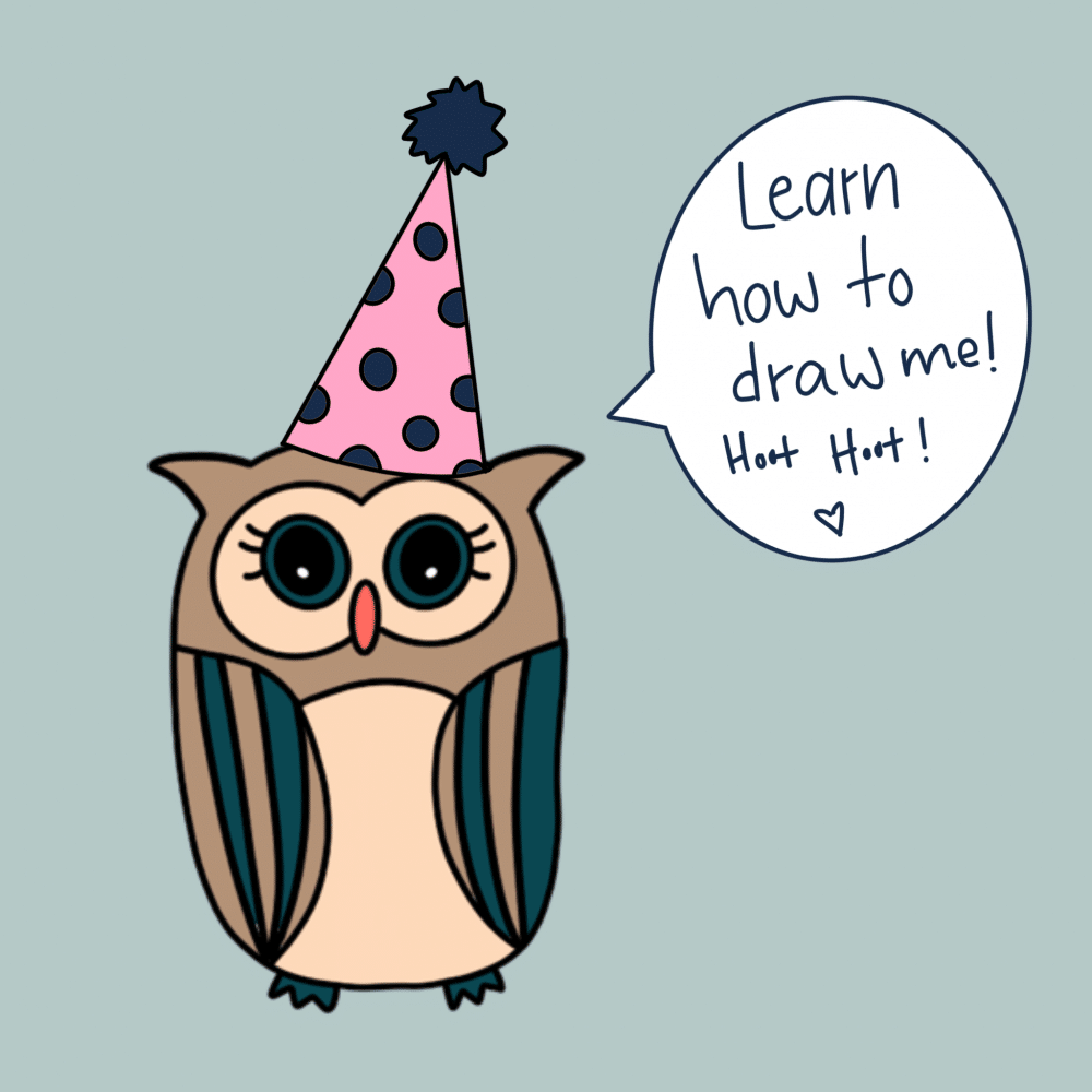 Directed Drawing cute owl doodle