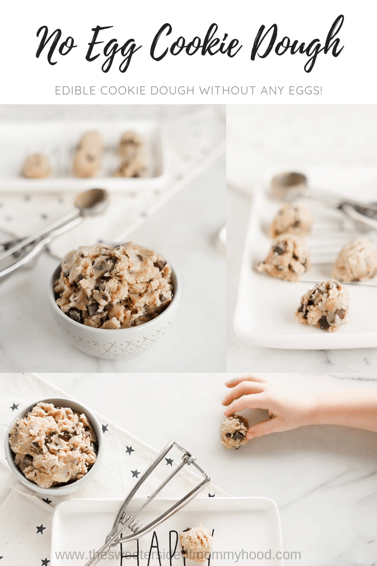 No egg cookie dough- a delicious recipe for chocolate chunk cookie dough that's safe to eat!