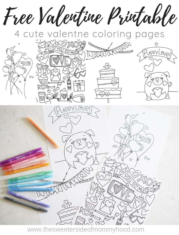 Free valentine printable coloring pages!