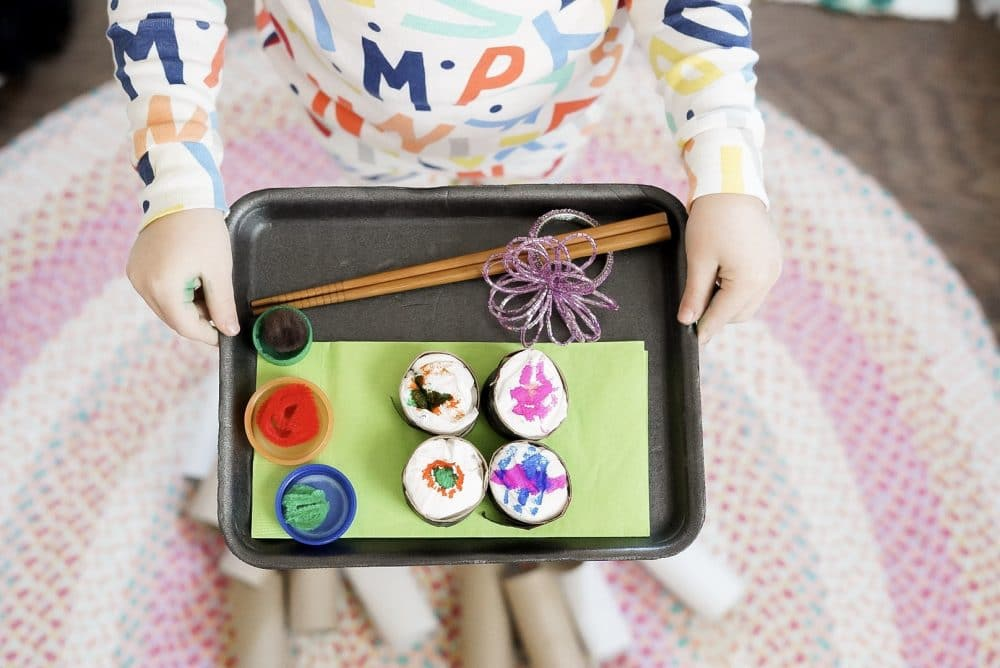 Toy sushi cardboard art
