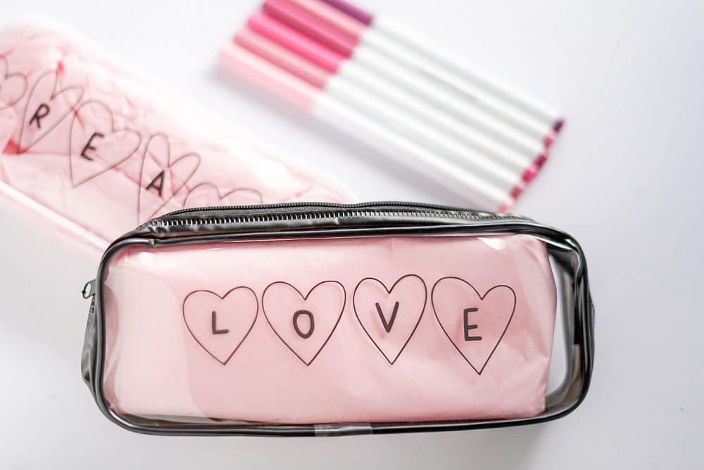 Clear pencil pouch for Valentine's Day