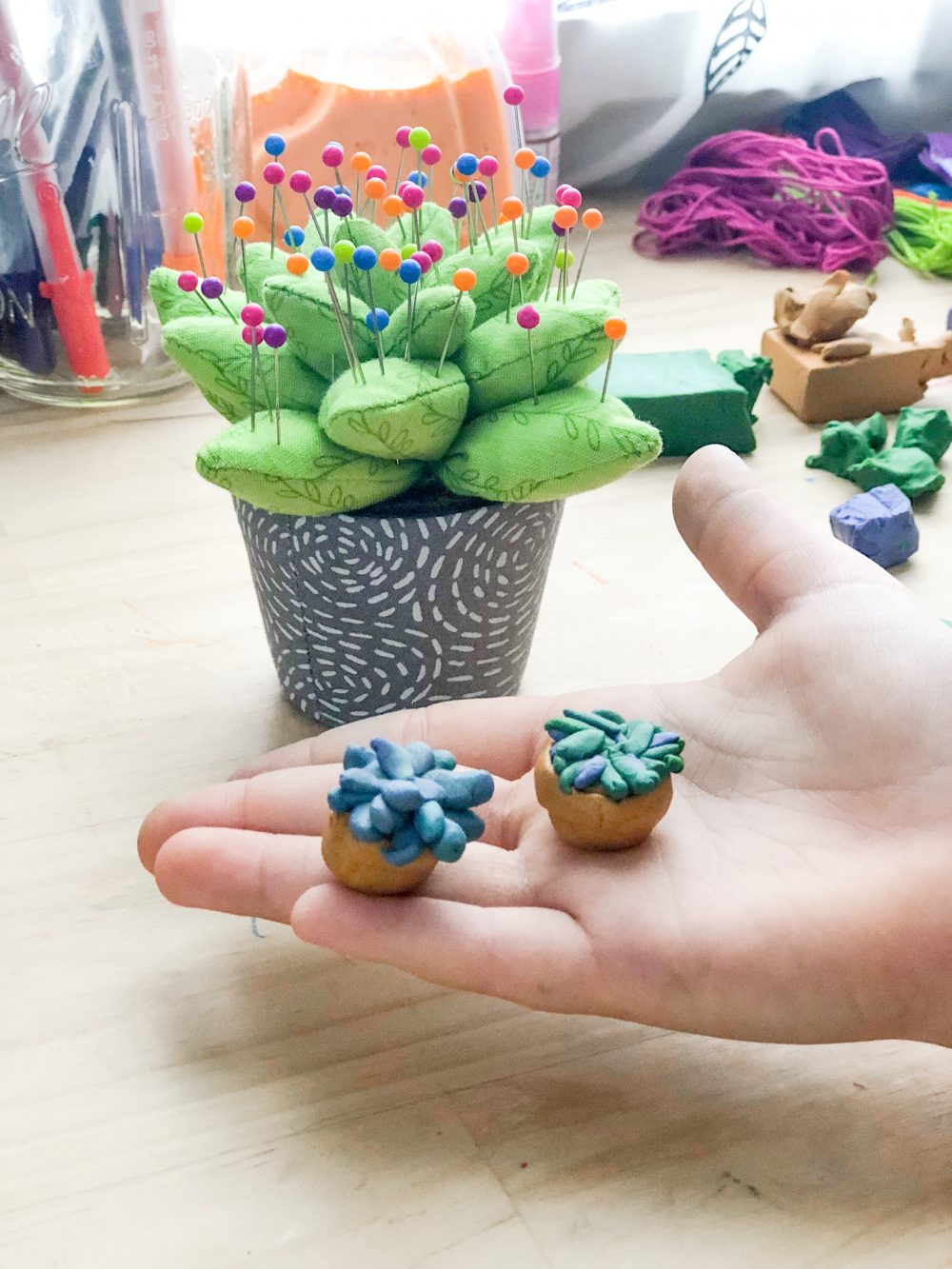 Polymer clay succulents