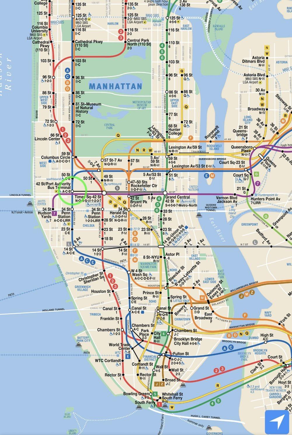 Subway map of nyc