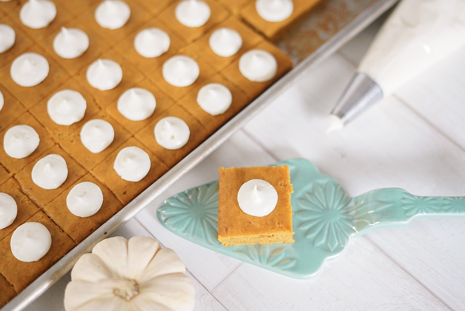 Pumpkin Bars with Amaretto Creme Freche Frosting